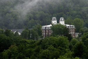 College Hall in the mist